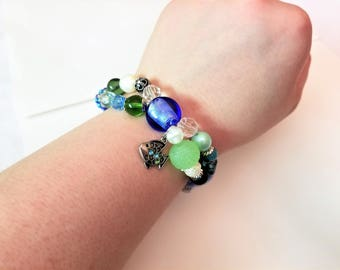 Blue and Green Double Strand Ocean Theme Fish Charm Beaded Stretch Bracelet