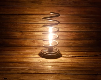 Old spiral lamp with Edison bulb - lighting, vintage, lights, industrial, steampunk, unique, recycling, loft, upcycling