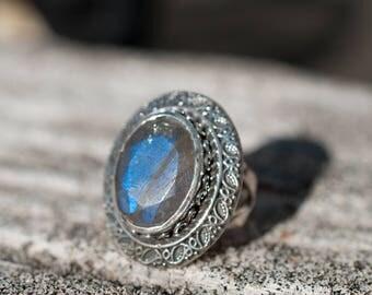 Labradorite Ring ~ Statement ~ Gemstone ~ Handmade ~ February Birthstone ~ Round ~ Circle ~ Natural ~ Organic ~ Gypsy ~ Hippie ~ Gift~MR059