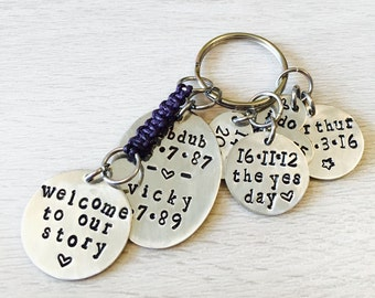 welcome to our story keyring, our story keyring, handstamped keyring, hand stamped key ring, personalised keyring, personalized keyring