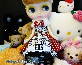 Blythe Doll Clothes - Pokka Dot Kitty Party Dress