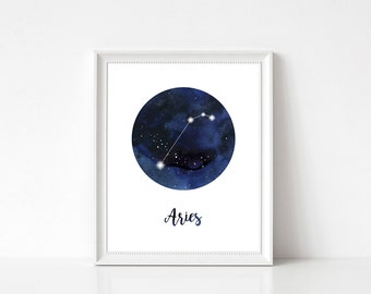 Aries Print, Aries Wall Art, Aries Constellation, Aries Home Decor, Aries Wall Decor, Zodiac Print, Aries Stars, Zodiac Constellation