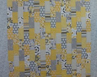 Grey and Yellow Medium Brick Quilt