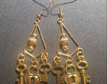 Gold Lock and Key Chandelier Earrings