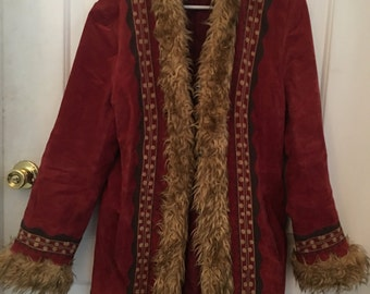 Red Suede Leather Faux Fur lined Embroidered Vintage Coat
