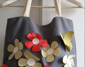 tote bag with flowers and butterfly, shoulder bag, shopping bag, bag, bag, bag and floral shopper floral canvas, bag spring