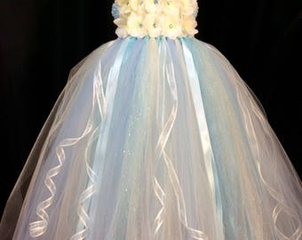 Ivory & light blue flower girl dress, tulle flower girl dress, tutu dress for girls, tutu flower girl dress, wedding, ivory floral dress