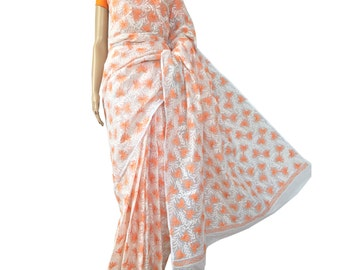 White all over work Lucknowi Chikankari Kota Sari with Orange