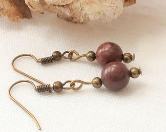 brown jasper,earrings jasper,brown gemstones,brown earrings,rich brown earrings,bronze earrings,dark brown earrings,everyday earrings,brown