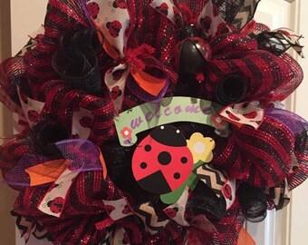 Welcome lady bug wreath