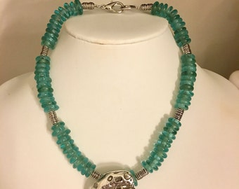 Silver Shell Pendant with Turquoise Glass Beads