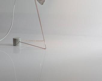 PULPE Lamp - table or desk lamp. Paper, wood, copper, concrete