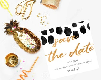 Printable Save The Date | Modern Gold