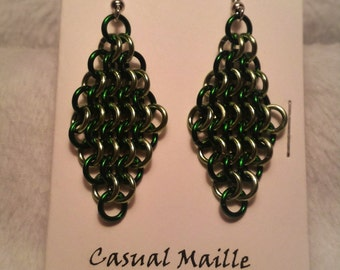 Green/Lime Chain Maille (European 4-1) Earrings