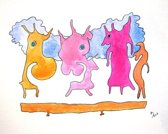 Three figures playing, Illustration Book, Children, Unframed, Original Watercolor Painting