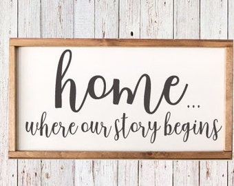 """Home...Where Our Story Begins - Farmhouse Sign - Rustic Decor - Our Story - Framed Art - Housewarming - Wedding - 25 1/2"""" x 13"""""""