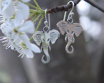 Sterling Silver Stamped Dangle Elephant Earrings