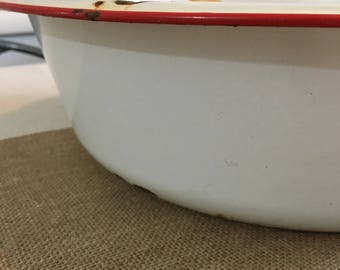 Vintage Enameled White with Red trim Metal Bowl