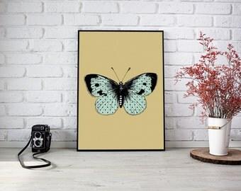 Beautiful Moth, Baby girl, Vintage Children, Vintage Illustration, Nursery Art, Printable, Wall Art, Neutral Nursery, Handmade