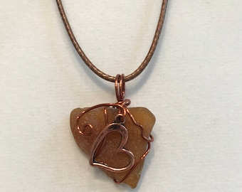 Italian brown beach glass pendant with heart #64