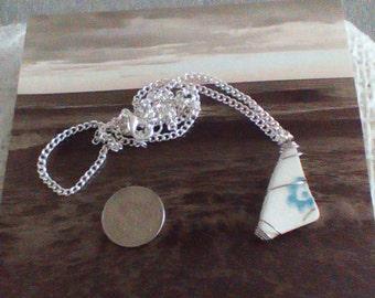 Beach treasure ceramic chip pendant and chain