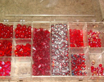 SALE 1 1/2 Pounds of Red Glass Beads