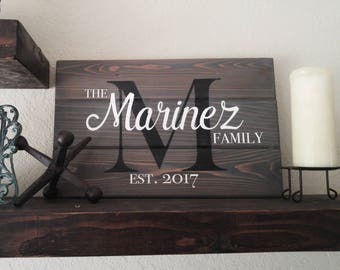 Family established Custom Shiplap Sign - Last Name Personalized Wood wall art - Rustic Modern Wedding / Anniversary Gift