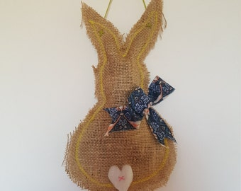 Hessian Easter Bunny Wall Hanging (with William Morris bow and fuzzy heart tail)