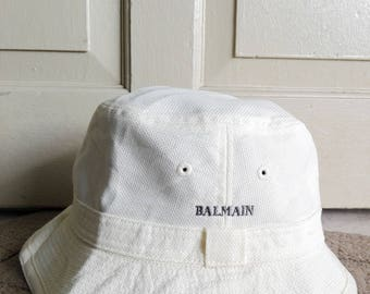 Balmain Bucket Hat in Cream Color