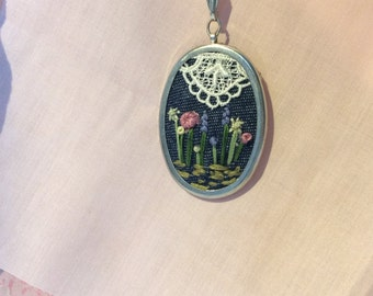 Embroidered wildflower pendant necklace