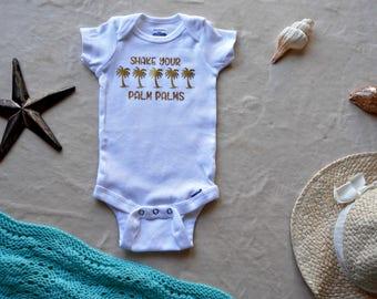 Shake Your Palm Palms Onesie- Beach Onesie- Summer Girl Onesie- Palm Tree- Tropical Bodysuit- Cute Baby Girl Clothes- Hawaii Baby Onesie