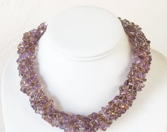AAA Ametrine 3 Strand Necklace with Sterling Silver Clasp