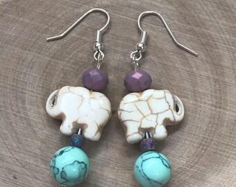 Spring Elephant Dangle Earrings || Boho Earrings || Pastel Earrings