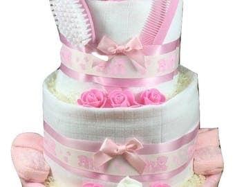 Three tier Pink Girly Nappy Cake