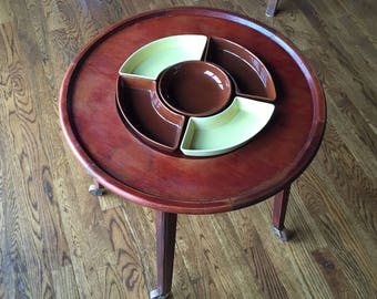 Mid Century Lazy Susan Chip and Dip Table