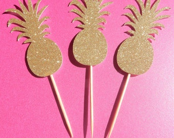 12 x Gold Pineapple Glitter Cupcake Toppers - Double sided. Birthday, Summer, Party Decorations, Handcrafted