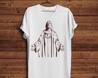 Jesus Christ T shirt    Christianity Religion   Heart