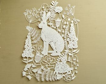 Hare and Tortoise Handcut Papercut Gift, Fable, Nursery Art