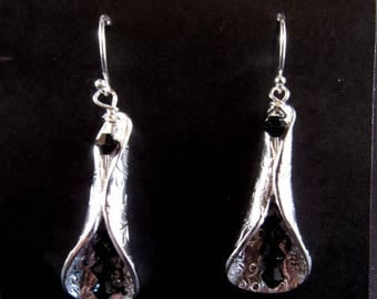 Silver Tube Earrings with Swarovski Crystals