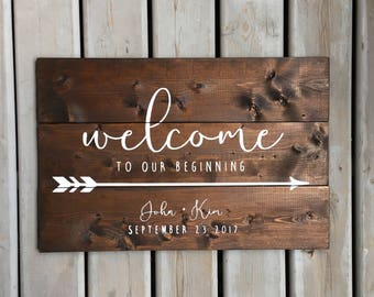 Rustic Welcome To Our Beginning with Names, Wedding Date and Directional Arrow | White on Wood