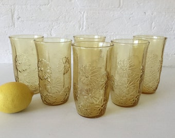 6 Anchor Hocking Glasses Flower Power Vintage Glassware