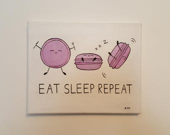 "Eat. Sleep. Repeat. [purple macaron ed.] 8x10"" original food art acrylic painting"