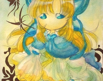 Watercolor hand drawn illustrations [daughter of insect wing ears] download sales