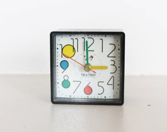 Alarm clock Tug and Tuggy, black square alarm clock, small alarm clock, vintage alarm clock, vintage clock