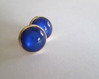 pink gold, Small earrings, handmade, Spain, jewelry, Studs, Gift mom, Earrings , Resin, blue, Button, Spain, Europe, Woman,