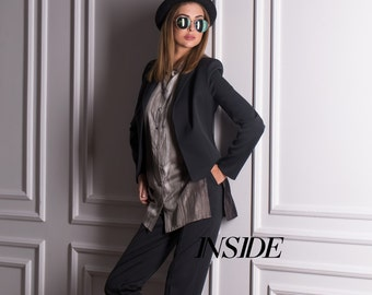 Women's suit (jacket with pants and silk blouse) Женский деловой костюм-тройка (жакет, брюки, блузка)