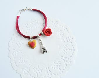 Bracelet Paris in love with Eiffel Tower, heart and Red Rose pattern pandora charms