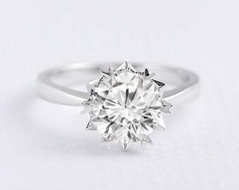 Forever One Moissanite Ring Moissanite Engagement Ring White Gold Flower Solitaire Ring Minimalist Simple Wedding Bridal Ring Promise Ring