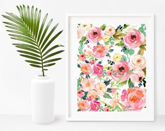 Watercolor Flower Print, Flower Wall Art, Shabby Chic, Instant Download,  Printable Art Part 97