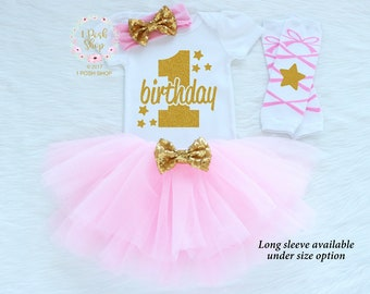First Birthday Outfit Girl, Cake Smash Outfit Girl, First Birthday Outfit Girl Pink and Gold, 1st Birthday Girl Outfit, Bithday Tutu BF19